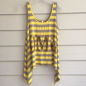 OMG Sequined Yellow and Grey Striped tank